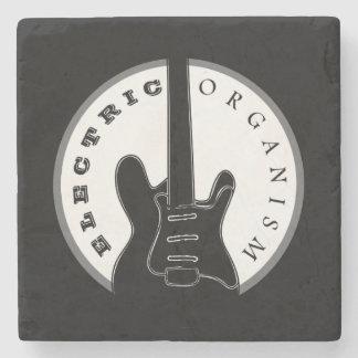 Electric Guitar Rock Music Cool Black White Modern Stone Coaster