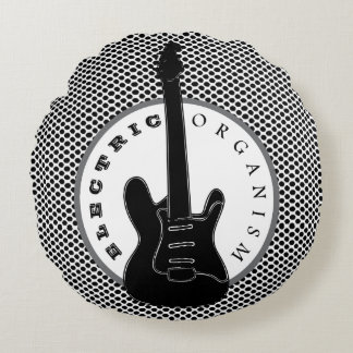 Electric Guitar Rock Music Dots Black White Cool Round Pillow