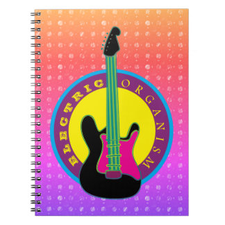 Electric Guitar Rock Music Neon Cool Colors Notebook
