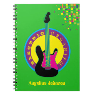 Electric Guitar Rock Music Neon Vibrant Colors Notebook