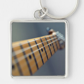 Electric Guitar Silver-Colored Square Keychain