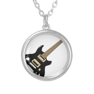 Electric Guitar Silver Plated Necklace