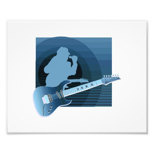 electric guitar singer  invert blue.png photo print
