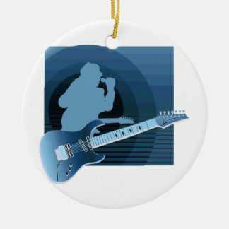 electric guitar singer  invert blue.png round ceramic ornament