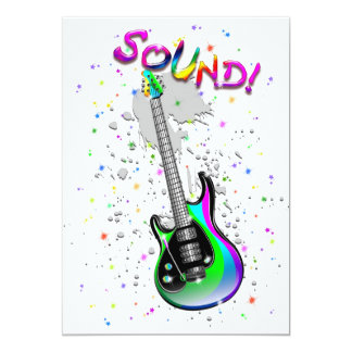 "Electric Guitar Sound Colors 5"" X 7"" Invitation Card"