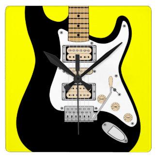 Electric Guitar Square Wall Clock