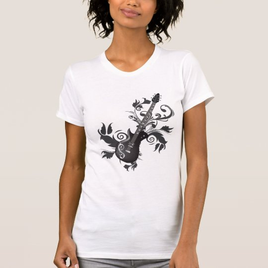 Electric Guitar, Swirls And Abstract leaves T-Shirt