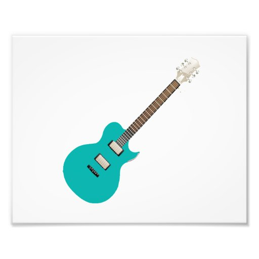 electric guitar teal.png photographic print