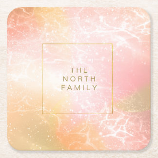 Electric Holograph Gradient Pink ID371 Square Paper Coaster