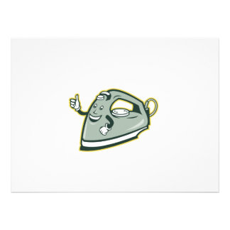 Electric Iron Mascot Thumbs Up Cartoon Personalised Announcements