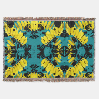 Electric Jungle Throw Blanket in Canary and Teal