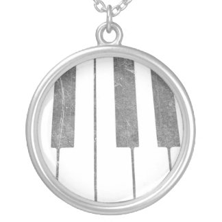 electric keyboard keys grunge scratch music silver plated necklace