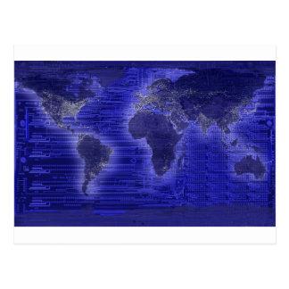electric light world map postcard