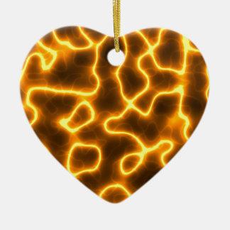 Electric lightning ceramic heart ornament