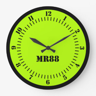Electric Lime Green Accent Color Decor Monogram on Large Clock