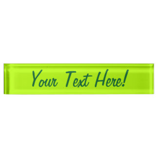 Electric Lime Green Color Decor Ready to Customize Nameplate