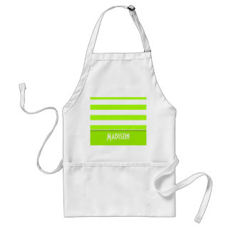 Electric Lime Green Stripes; Personalized Standard Apron