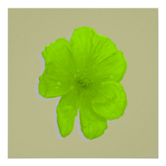 Electric Lime PopArt Flower Poster