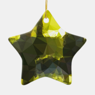 Electric Lime Yellow Abstract Low Polygon Backgrou Ceramic Star Ornament