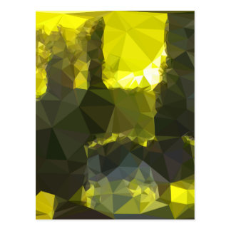 Electric Lime Yellow Abstract Low Polygon Backgrou Postcard