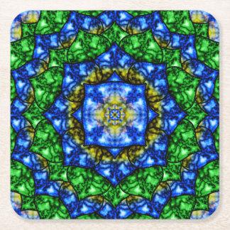 Electric Lotus Mandala Square Paper Coaster