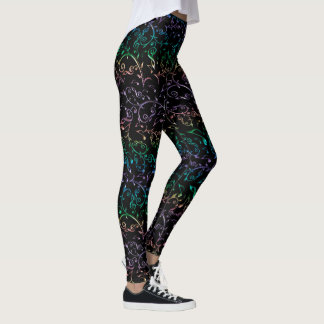 Electric Music Notes Pattern Leggings