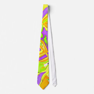 Electric neon abstract art design tie