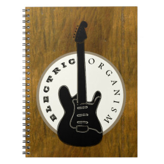 Electric Organism Guitar Rock Music Black Old Gold Notebook