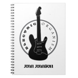 Electric Organism Guitar Rock Music Black White Notebook