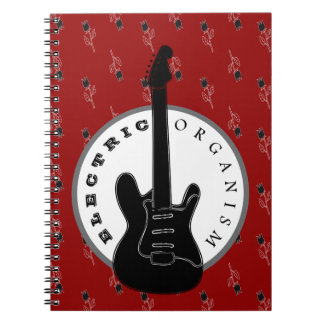 Electric Organism Guitar Rock Music Floral Black Notebook