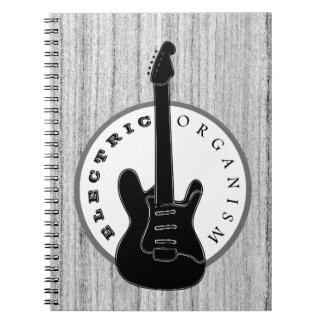 Electric Organism Guitar Rock Music Wood Cool Grey Notebook