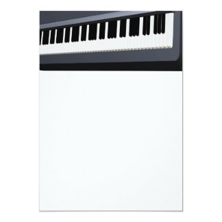 "Electric piano keyboard 5"" x 7"" invitation card"