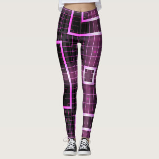 Electric Pink Square Geometric Leggings