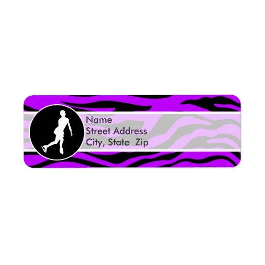 Electric Purple Zebra Stripes; Figure Skating Return Address Label