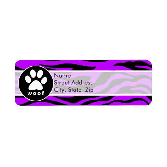 Electric Purple Zebra Stripes; Paw Print Return Address Label