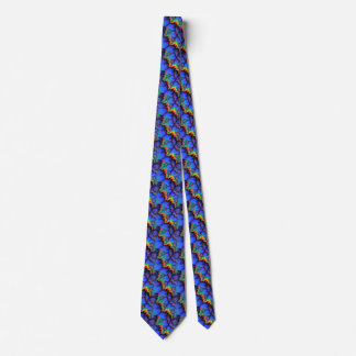 Electric Rainbow Waves Fractal Art Pattern Tie