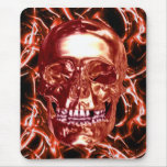 Electric Red Chrome Skull Mouse Pad