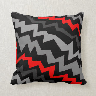 Electric Red-Grey Throw Pillow