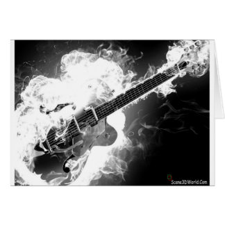 Electric Rockabilly Guitar on Fire Monochrome Card