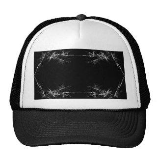 Electric Scratch. Black, White Fractal Art. Hat