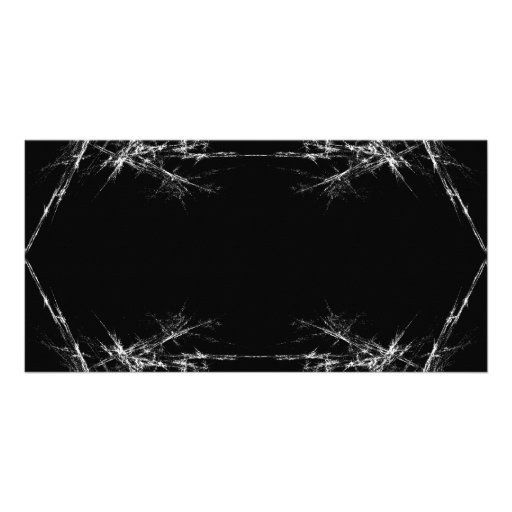 Electric Scratch. Black, White Fractal Art. Custom Photo Card