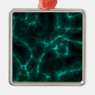 Electric Shock in Blue Green Silver-Colored Square Ornament