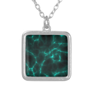 Electric Shock in Blue Green Silver Plated Necklace