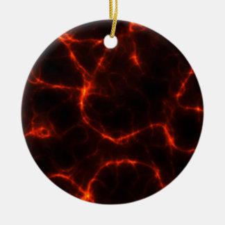 Electric Shock in Crimson Round Ceramic Ornament