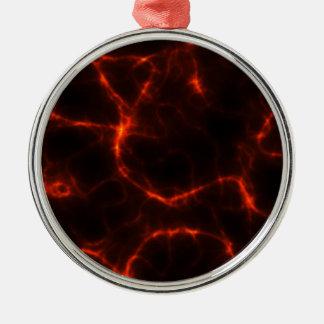 Electric Shock in Crimson Silver-Colored Round Ornament