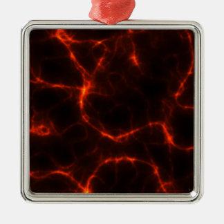 Electric Shock in Crimson Silver-Colored Square Ornament