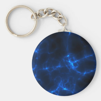 Electric Shock in Dark Blue Basic Round Button Keychain