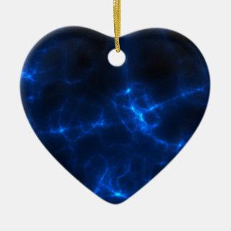 Electric Shock in Dark Blue Ceramic Heart Ornament