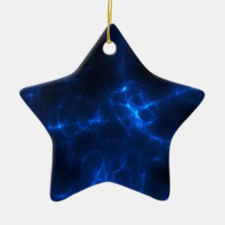 Electric Shock in Dark Blue Ceramic Star Ornament