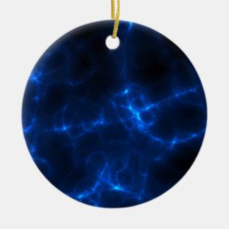 Electric Shock in Dark Blue Round Ceramic Ornament